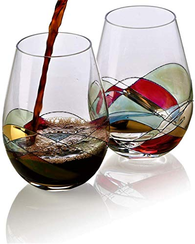 Bezrat Stemless Wine Glasses Set of Two | Hand Painted Large Premium Red and White Wine glasses | Lead-Free Crystal | Essential Wine Gift | 18 Ounces (Red)