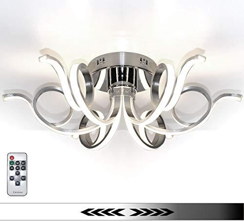 Dimmbar XL LED Deckenlampe Deckenleuchte Kronleuchter Wohnzimmer Neutralweiß Luxus Design Lüster Spirale Form 6 Arme Modern 62cm Lewima Merwa