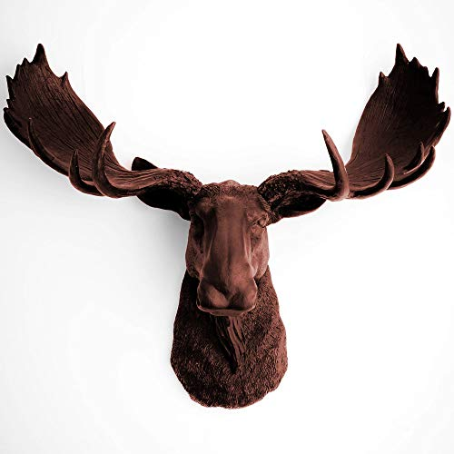 White Faux Taxidermy Modern Moose Home Decor 'The Augustus' Hand-Painted Country Chic Moose Head & Antlers, Modern Farmhouse Wall Decor - Contemporary Rustic Art