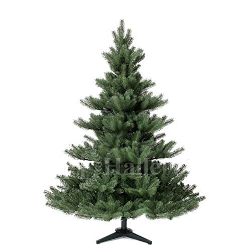 Original Hallerts® Spritzguss Weihnachtsbaum Alnwick 150 cm als Nordmanntanne - Christbaum zu 100% in Spritzguss PlasTip® Qualität - schwer entflammbar nach B1 Norm, Material TÜV und SGS geprüft