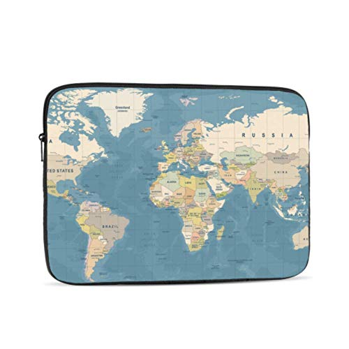 Macbook Accessories Case Cartoon Funny World Map Mac Cover Multi-Color & Size Choices 10/12/13/15/17 Inch Computer Tablet Briefcase Carrying Bag