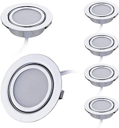 6er Set LED Slim Möbel Einbaustrahler | Chrom glänzend | 230V 3W | Neutralweiß 4000K | Bohrloch: 55-60mm - Außendurchmesser: 73mm - Einbautiefe: 25mm | 15cm Anschlusskabel