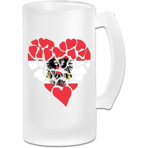 Hart Vlag van Oostenrijk Frosted Glass Stein Beer Mok, Pub Mok, Drank Mok, Cadeau voor Bier Drinker, 500Ml (16.9Oz)