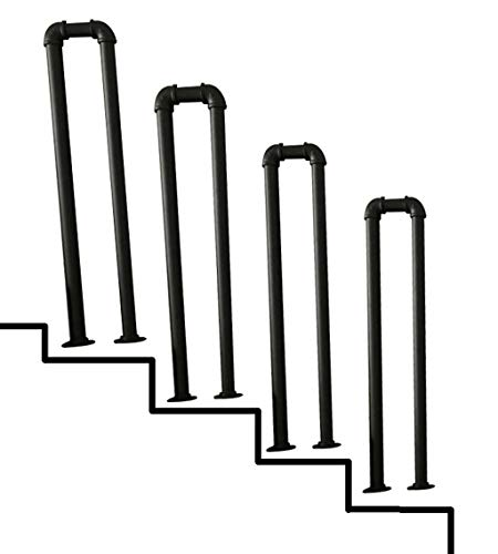 YUDE-Vintage Wrought Iron Stair Handrail, U-Shaped Galvanized Pipe, Black Water Pipe Shape Safety Railing, Suitable for Stairs, Corridor (Multi-Size Optional)