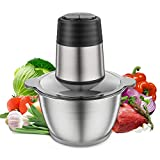 Food Chopper,Kuopry Electric Food Processor for Kitchen Meat Vegetables Fruits and Nuts,350W Fast & Slow 2 Speeds,4 Titanium Coating Blades,8-Cup Food Grade Stainless Steel Bowl Meat Grinder