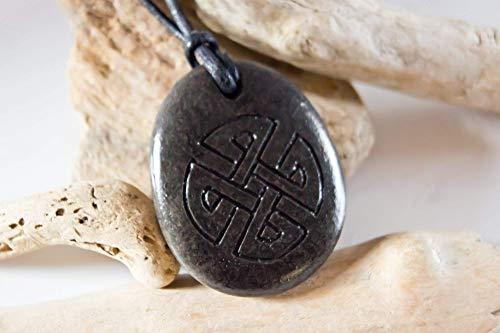 Celtic Maltese Cross engraved stone, Celtic pebble necklace or bracelet, Irish Sea pebble, Irish mens necklace, Irish men's necklace