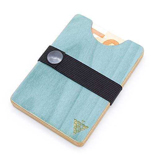 Hochwertiges Portemonnaie aus Holz - Pappel Hellblau - Holzgeldbeutel Wallet Brieftasche Portmonee Holzgeldbörse Handgemachtes UNIKAT stylisches Geschenk für Mann + Frau Made in Germany Südpfalz