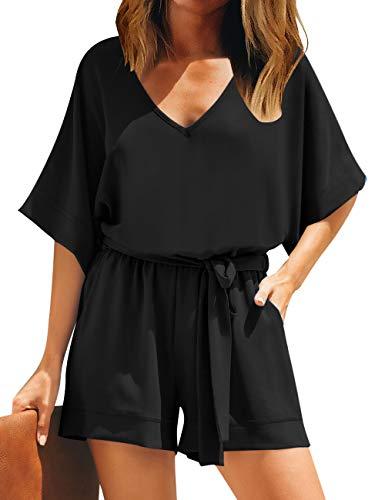 Roskiky Damen V Ausschnitt Elegant Jumpsuit Overall Beiläufig Playsuit Romper mit Gürtel Schwarz Größe M