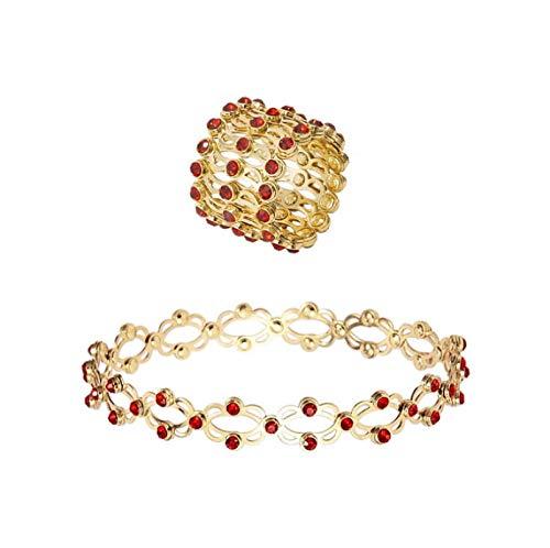 wgkgh Pulsera de Anillo telescópico Femenino mágico 2 en 1, Anillo, joyería Plegable Ajustable de 2-7 cm, Pulsera Creativa Multifuncional, Pulsera de Diamantes de imitación de Cristal OroA