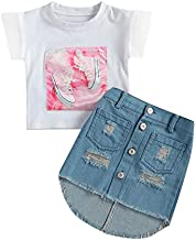 Kids Toddler Baby Girl Spring Summer Outfit Short Sleeve Patched T-Shirt Top Button Ripped Denim Skirt 2PCS Clothes Set (Shoes Patched, 1-2 Years)
