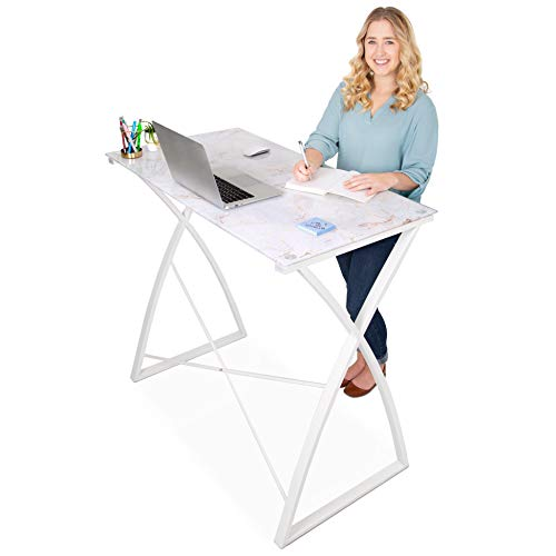 Stand Steady Joy Desk | Multifunctional Standing Table | Modern Glass Top with Marble Print Design | Pretty Standing Desk with Spacious Desktop for Home, Office & More (White Marble / 43 x 23)