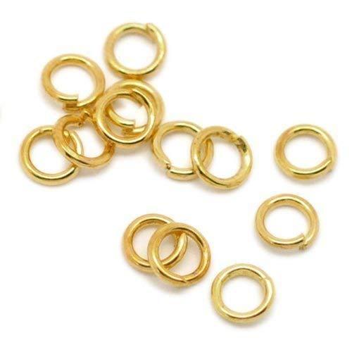 Bacabella 21613 Biegeringe 6mm Gold (100 Stück) Offene Ösen als Schmuckverbindung