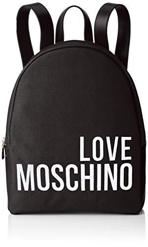 Love Moschino Canvas, Borsa a Zainetto Donna, Nero, 37,5 x 29 x 14 cm