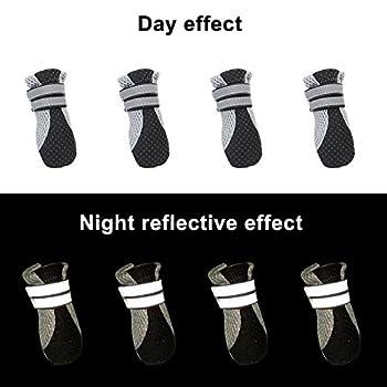 EACHPT 4PCS Chaussure pour Chien Protection Bottes Chien Neige Respirant avec Bandes Réfléchissantes Protecteur de Patte Antidérapante Bottes Chien Impermeable pour Chiot Petits Moyens Chiens