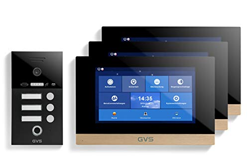 GVS AVS5282A - Videoportero de 4 cables/IP, IP65, RFID, Fingerprint, 3 monitores de 10 pulgadas, App, cámara HD de 120 °, apertura de puerta, 32 GB de memoria, conmutador PoE, 3 juegos familiares,