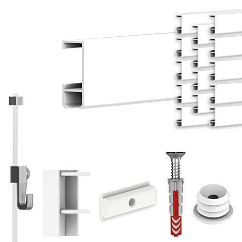 hang-it Komplettset - Galerieleisten Bilderleisten - 30 Meter inkl. Bilderhaken, Seile und Montagematerial