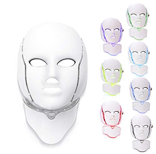 Led Máscara Terapia Luz Cara, 7 Colores Led Cara Cuello Máquina De Rejuvenecimiento Piel De Fotón Máscara Terapia De Luz De Acné Para El Cuidado Piel Blanqueamiento Antienvejecimiento Antiarrugas
