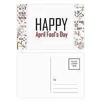 エイプリルフールの祝福の祭りの休日を祝う祭りの祝賀の言葉 公式ポストカードセットサンクスカード郵送側20個