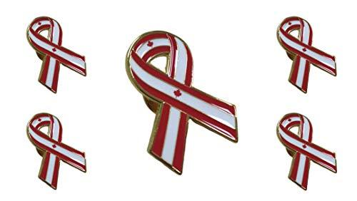 Packung mit 5 Anstecknadeln mit Schleife, Flagge Kanada Ribbon Flag Kanada 30 x 25 mm