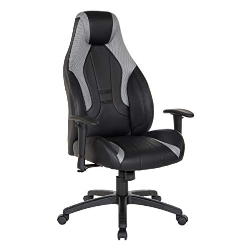 OSP Home Furnishings Commander Ergonomic Adjustable High Back Gaming Chair, Black Faux Leather with Grey Accents