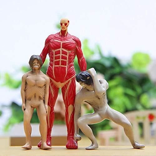 Klycbds 3 Piezas Kawaii Anime Japonés Attack On Titan Colosal PVC Figura De Acción Juguetes Muñeca Colección En Miniatura Modelo De Juguete Regalos para Niños