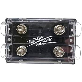 Sky High Car Audio 1//0 Gauge Ring Terminal ANL Fuse Holder Nickel Plated W//Fuses Green, 250A Fuse