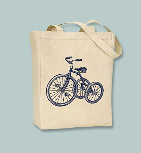 Triciclo Vintage Triciclo Bike Ilustración ToteSelección de tamaños, bolsas de comestibles lavables reutilizables, gran elección para regalo para madre, abuela, abuela y abuela