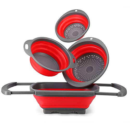 Glotoch Colander Silicone Collapsible Colander Set of 4-Includes 1pc 6 Quart Over the Sink Colander, 2pc 4 Quart and 1pc 2 Quart Round foldable colander Strainer.Dishwasher-Safe Red