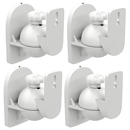 deleyCON 4X Soporte Universal para Altavoces y Bafles de Grado de Rotación + Inclinación hasta 3,5kg de Carga Instalación en Paredes y Techos - Blanco
