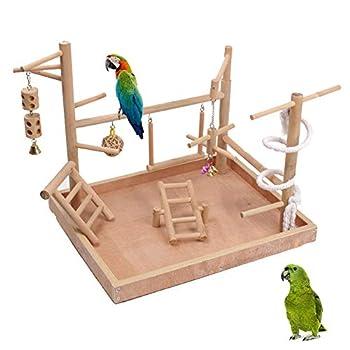 ZWW Pieds pour Cages À Oiseaux, Aire De Jeux en Bois Gymnase D'entraînement Clôture De Jeu avec Balançoire Échelle Jouet Swing pour Petits Moyens Perroquets