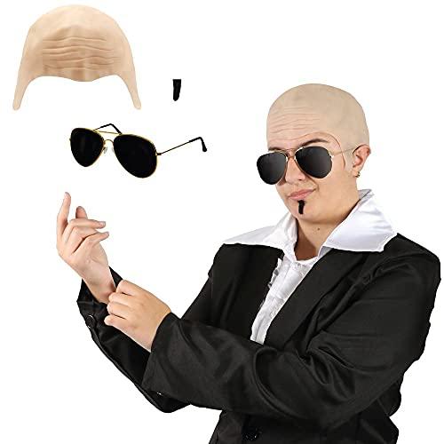 Juego de accesorios para adultos MR Worldwide  Gorro de calvo + gafas de sol de aviador + SouLPATCH negro  Disfraz de rafador para hombre