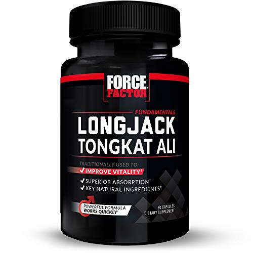 Longjack Tongkat Ali for Men, Natural Male Vitality Supplement, Improve Drive with Eurycoma Longifolia Extract and Superior Absorption, Fundamentals Series, 500mg, Force Factor, 30 Capsules