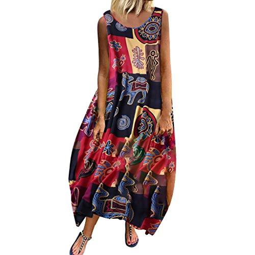 Vestido de Playa Verano Mujer Vestidos Estampados Largos Retro con Cuello Redondo Vestido Talla Grande Diario Popular Suelta Elegante Bohemia Vintage Vestido Sin Mangas