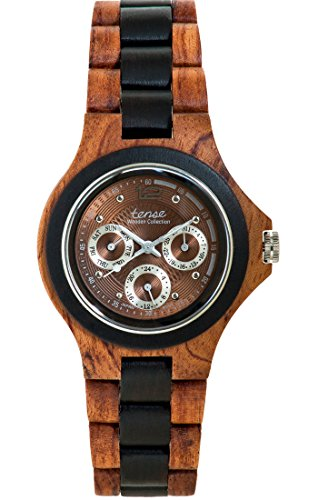TENSE Holzuhr Herren Katalox Leadwood Ø 45 mm Armbanduhr Northwest analog Quarz G4300RD-BR