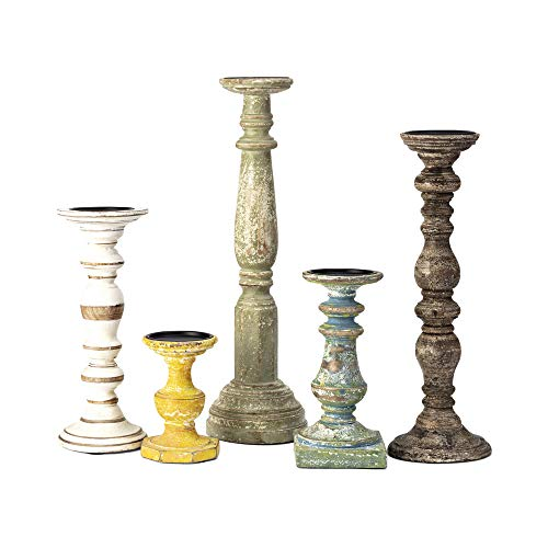 IMAX 5544-5 Kanan Wood Candleholders [Set of 5] - Mango Wood, Iron, Distressed Finish - Candle Stand for 3 in. Pillar Candles. Home Decor Accent