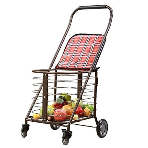 Carros de la compra Carro de la compra El trolley multifunción de Old Man puede llevar una silla de ruedas plegable El andador para el hogar puede llevar 100 Kg (Color: Rojo, Tamaño: 50 * 65 * 94cm)