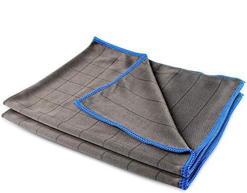 Esportic 2 Pack Toalla Secado Coche, 40x50CM Bayetas de Limpieza de Microfibra, Toalla Absorbente Coche, Absorbente Toalla de Cocina, Paños de Coche para Pulido/Lavado/Detallando de Automóviles(Azul)