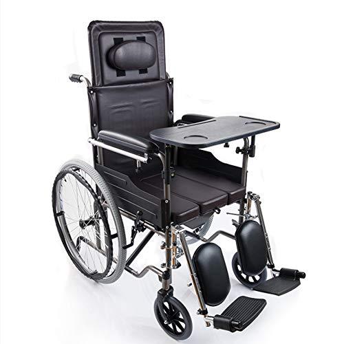 Mosen handmatig inklappen van de rolstoel, halfeconstructie en verstelbare rolstoel, vouwstoel, standaard rolstoel, met toilet en een eettafel, voor ouderen/gehandicapten.