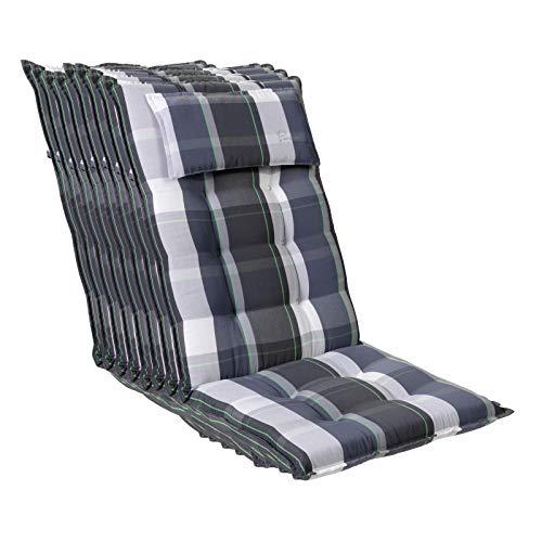 Homeoutfit24 Sun Garden Sylt - Cojín para silla de jardín (8 unidades, 120 x 50 x 9 cm), respaldo alto con reposacabezas extraíble en azul a cuadros