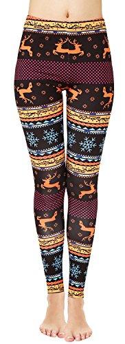 Sipaya Christmas Reindeer Leggings Women's Patterned Tights Athletic Pants Petite S