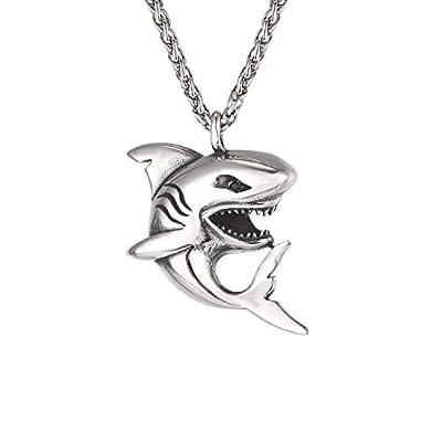 U7 Haifisch Anhänger Halskette Edelstahl Hai Fisch mit 3mm/50+5cm Weizenkette Cool Ozean Tier Modeschmuck Accessoire für Männer Jungen