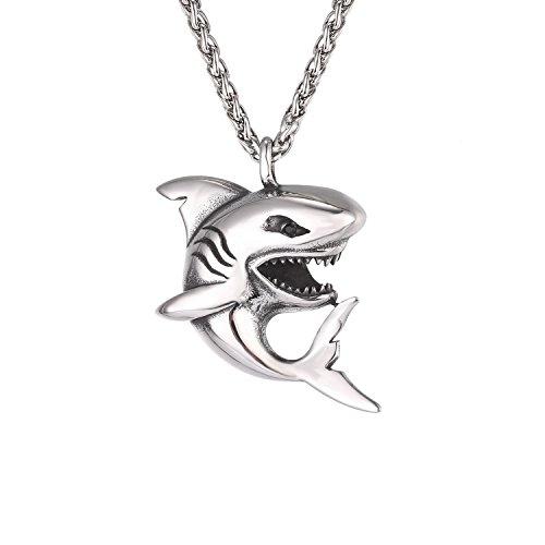 U7 Haifisch Anhänger Halskette Edelstahl Hai Fisch mit 3mm/60cm Weizenkette Cool Ozean Tier Modeschmuck Männer Jungen