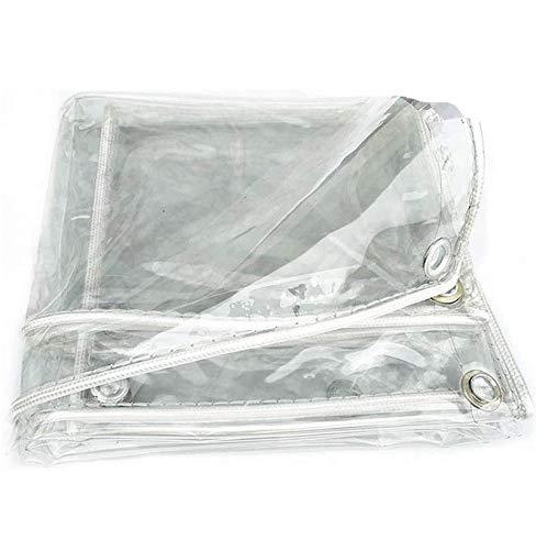 Abdeckplane Transparente Plane,0,3mm wasserdichte PVC Weicher Film Plane mit Ösen,Fensterbalkon Blumen-Pflanzenblatt Bedeckt Regendicht Markise,400g/m²(1.6x4m/5.2x13ft)