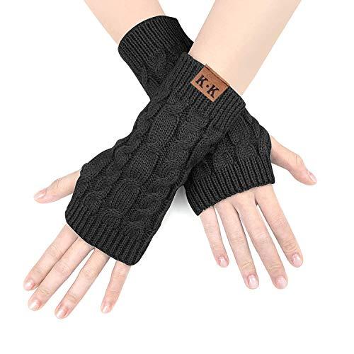 JORYEE Damen Fingerlose Handschuhe-Winter Halb Handschuhe Damen Gestrickte Pulswärmer Strick Kurzer Fingerless Armstulpen Fäustlinge (Schwarz)