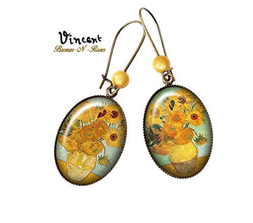 Ohrringe Vincent Van Gogh malt Sonnenblumen