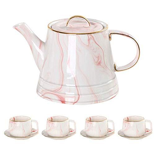 YLJYJ Teeservice, China Keramik Kaffeetassen mit Untertassen und Löffeln, Goldrand Marmor Teetasse Espressotassen Service (Blau, Pink) (Farbe: D)