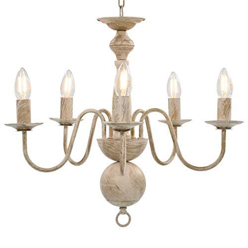 vidaXL Kronleuchter Antik Deckenlampe Pendelleuchte Lüster Deckenleuchte Hängeleuchte Hängelampe Leuchte Lampe Weiß 5xE14-Glühbirnen