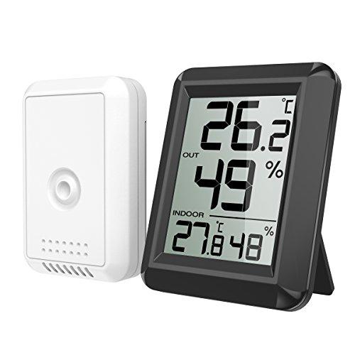 ORIA Thermometer Hygrometer, Innen Außen Thermometer Digital Temperatur und Luftfeuchtigkeit Monitor, Thermo Hygrometer mit Großem LCD Display, ℃/℉ Schalter, Ideal für Familie - Schwarz