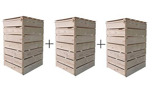 Lukadria Mülltonnenbox Mülltonnenverkleidung Holz 120 L - 240 L für 3 Tonnen Natur inkl. Rückwand vormontiert Müllcontainer Mülltonnenschrank Mülltonne Mülltonnenabtrennung Modell A