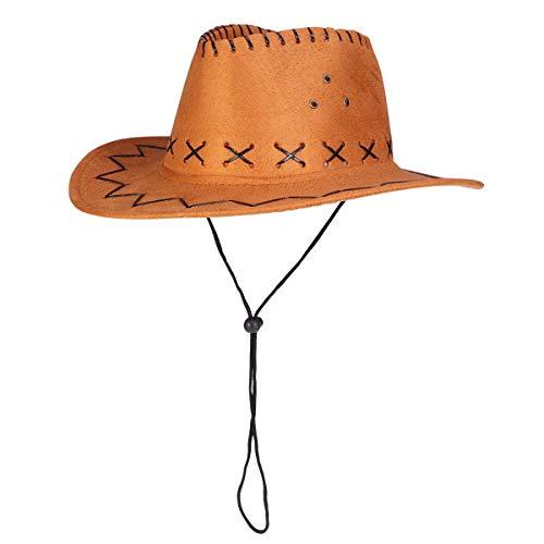 Cappello da cowboy occidentale casual Cappello da cowgirls bambini cappello in pelle scamosciata artificiale a tesa larga per il tempo libero Halloween Hat (Cow Yellow Children)
